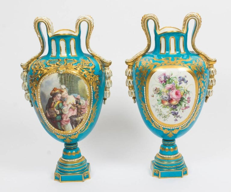 Antique Pair Large French Bleu Celeste Sevres Vases 18th Century At