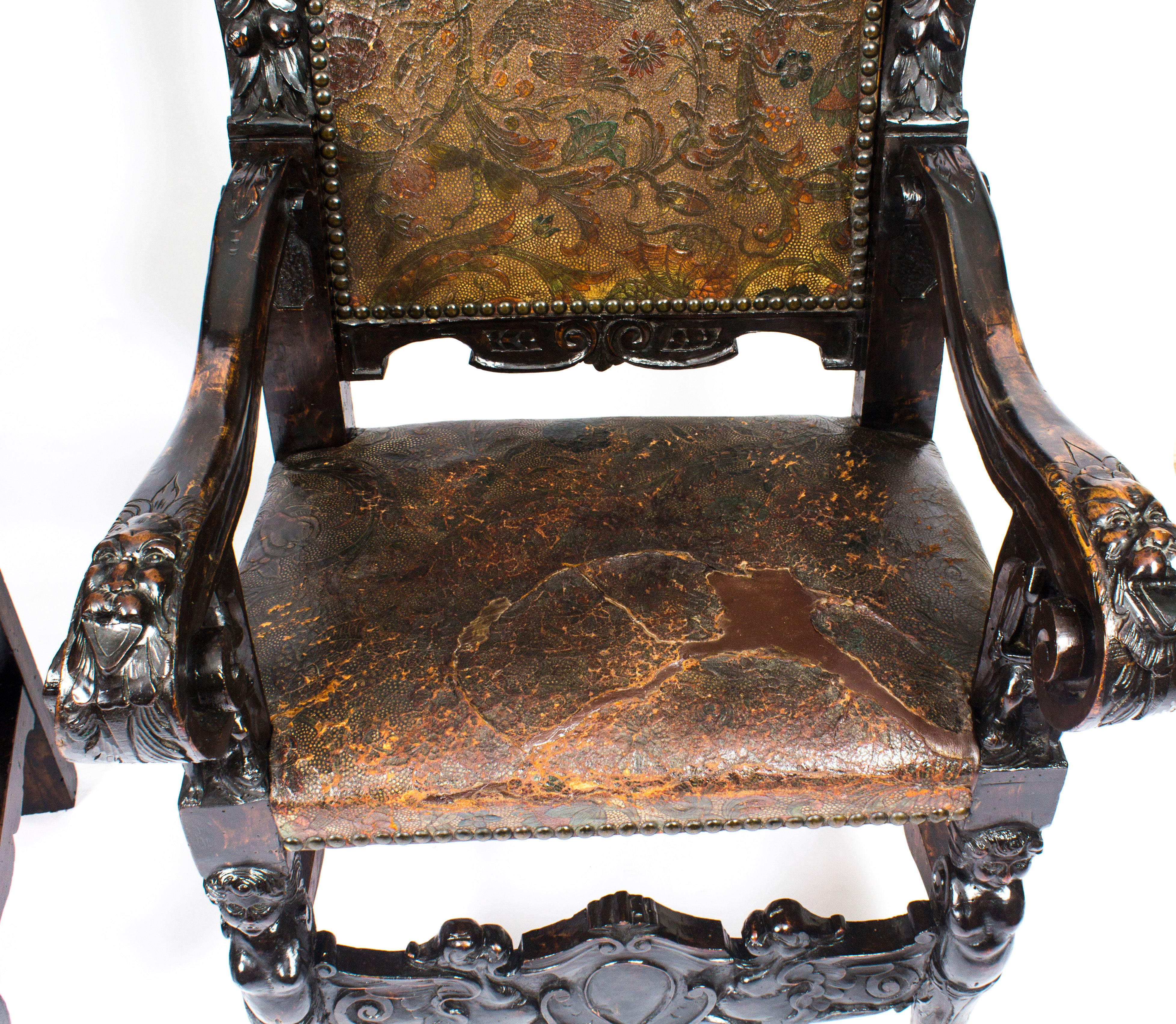 19th Century Pair of Carved Oak and Leather Gothic Throne Chairs at