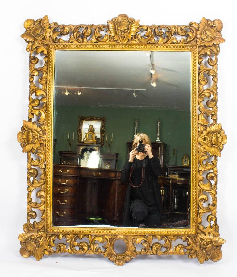 Antique Large Italian Gilded Florentine Mirror 18th