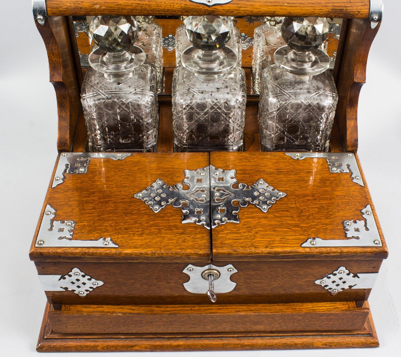 Antique English Victorian Oak Three Crystal Decanter Tantalus, 19th Century  At 1stdibs
