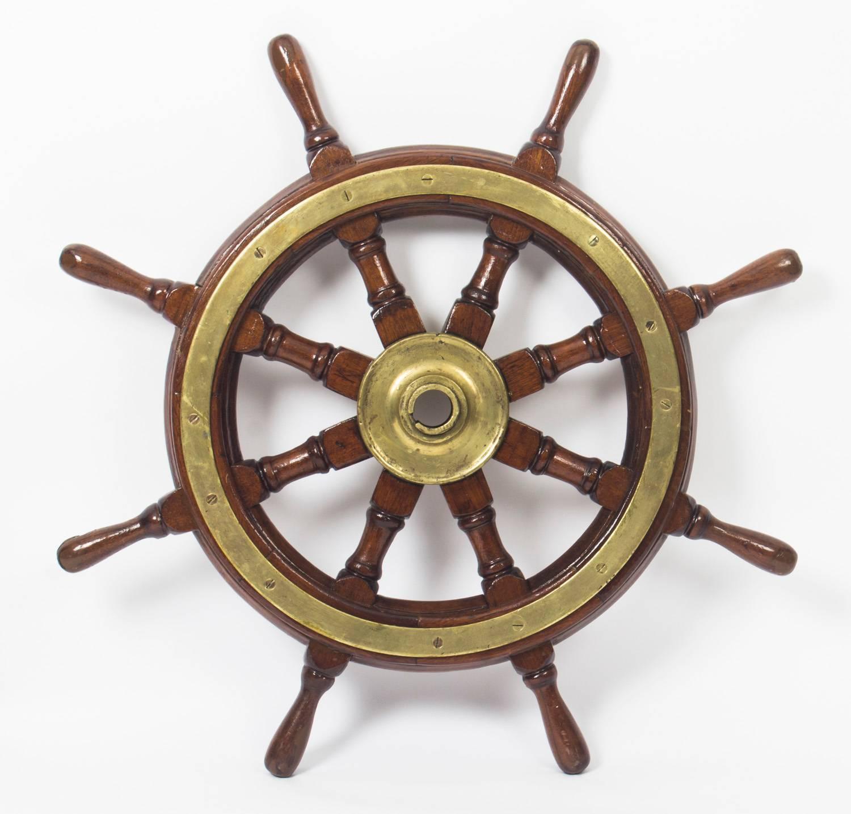 Antique Brass Set Eight Spoke Mahogany Ships Wheel, 19Th Century