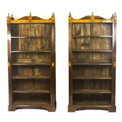 Vintage Pair of Sheraton Design Inlaid Mahogany Open Bookcases, 20th Century