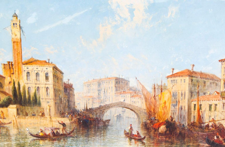 This beautiful oil on canvas painting by Jane Vivian (Active 1869-1890) beautifully captures a Venetian Scene of The Grand Canal.  This is a stunning painting of the most painted city in the history of art - Venice.  It is housed in it's