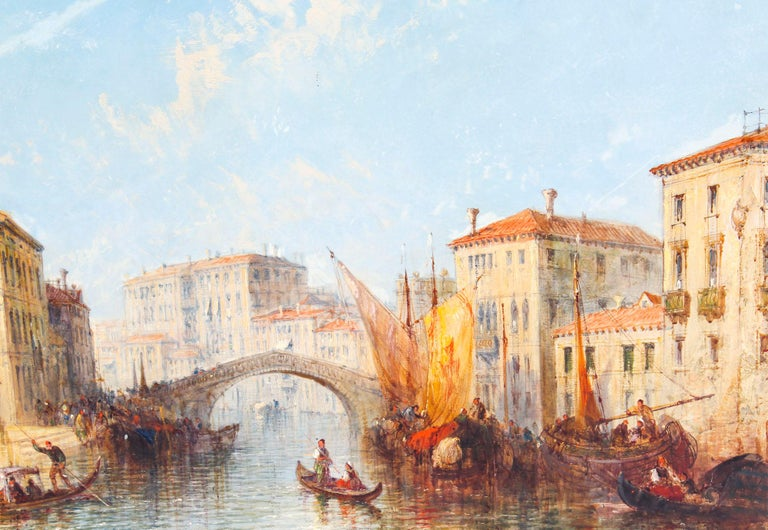 English Antique Oil Painting Venetian Scene of The Grand Canal J.Vivian, 19th Century For Sale