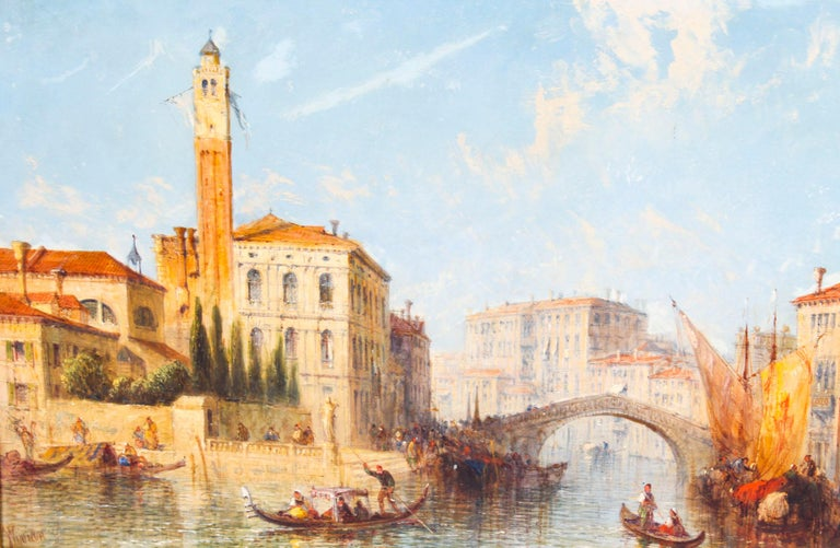 Gilt Antique Oil Painting Venetian Scene of The Grand Canal J.Vivian, 19th Century For Sale