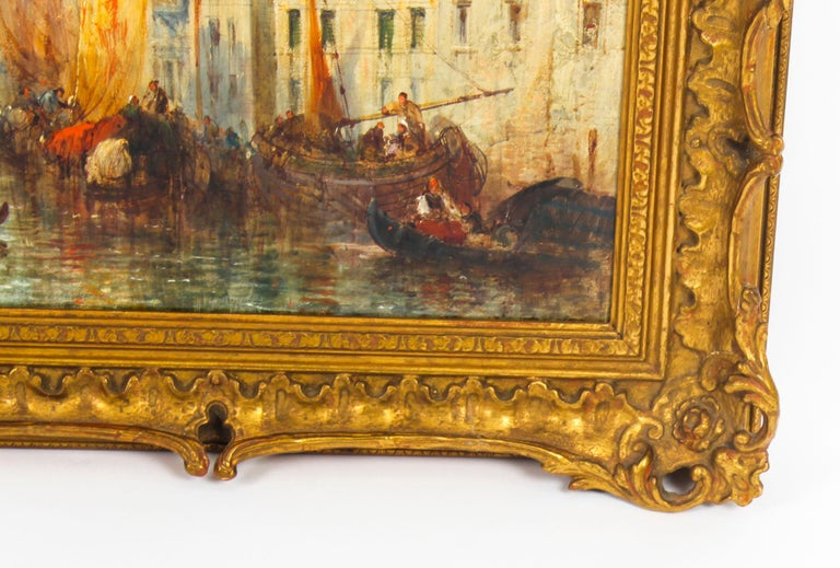 Antique Oil Painting Venetian Scene of The Grand Canal J.Vivian, 19th Century In Excellent Condition For Sale In London, GB