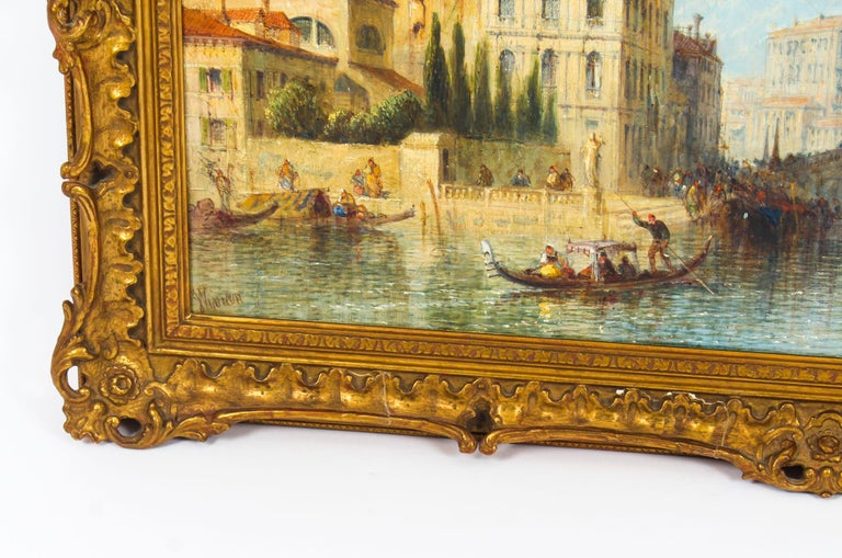 Canvas Antique Oil Painting Venetian Scene of The Grand Canal J.Vivian, 19th Century For Sale