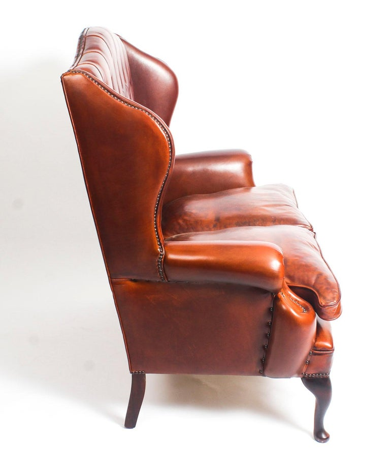English Leather Queen Anne Sofa And Pair Of Armchairs Burnt Amber For 2