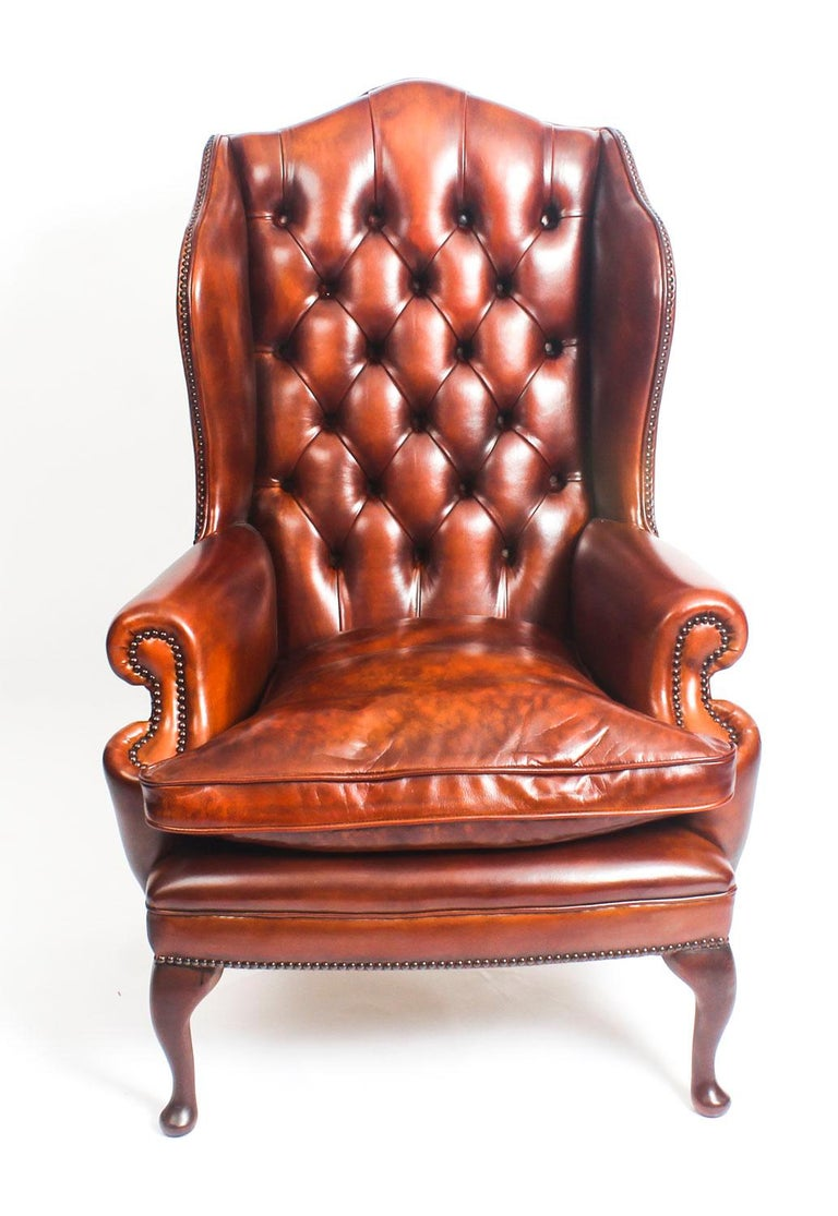 English Leather Queen Anne Sofa And Pair Of Armchairs Burnt Amber For 7