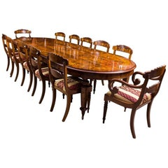 Bespoke Handmade Burr Walnut Marquetry Dining Table and 12 Chairs