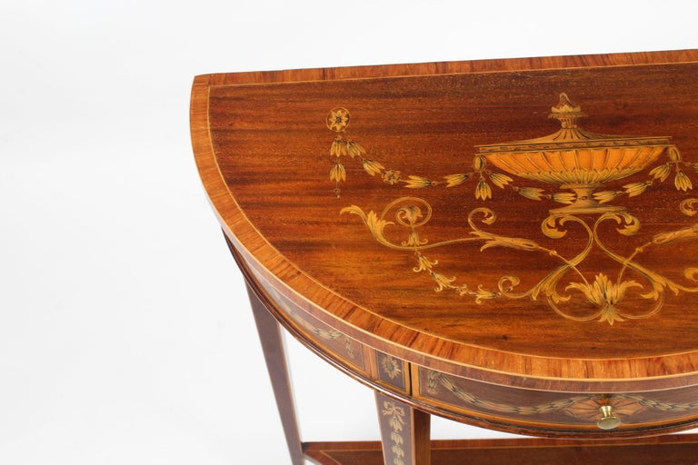 English Antique Regency Revival Marquetry Console Table, 19th Century For Sale