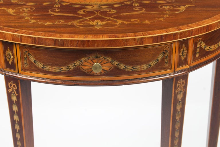 Early 20th Century Antique Regency Revival Marquetry Console Table, 19th Century For Sale