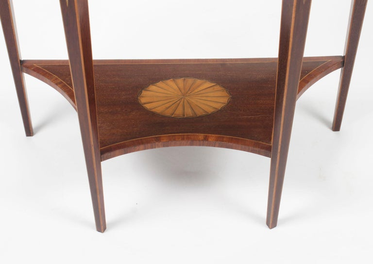 Mahogany Antique Regency Revival Marquetry Console Table, 19th Century For Sale
