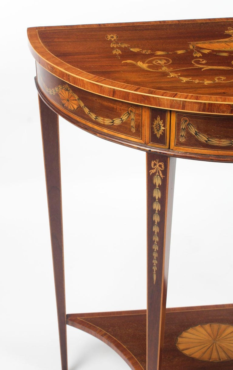 Antique Regency Revival Marquetry Console Table, 19th Century For Sale 1