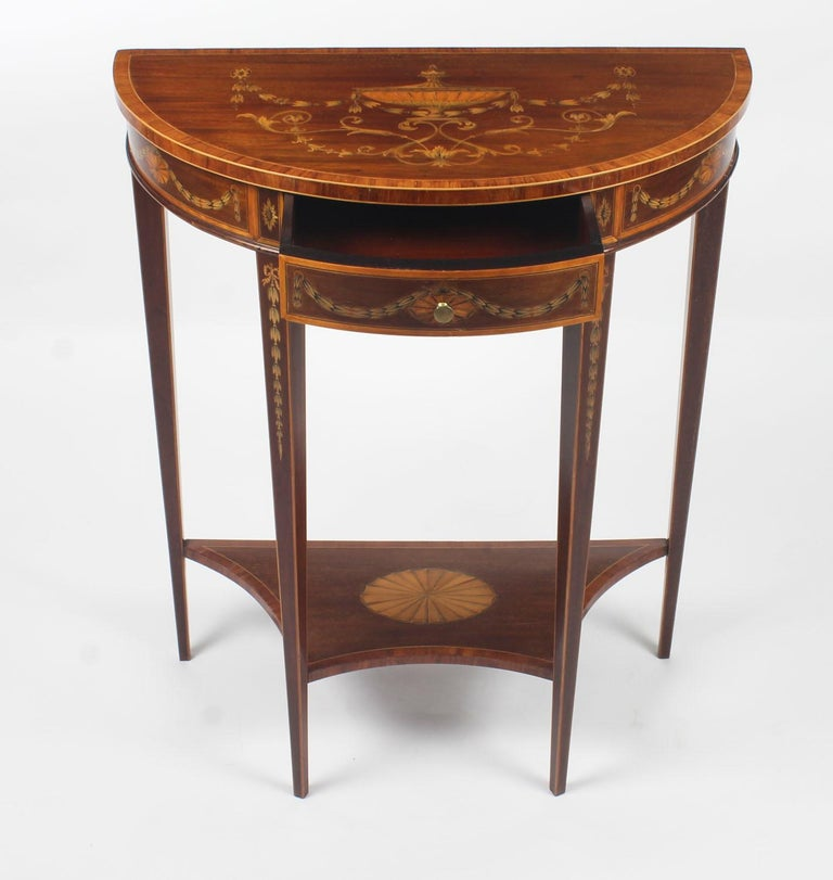 Antique Regency Revival Marquetry Console Table, 19th Century For Sale 3