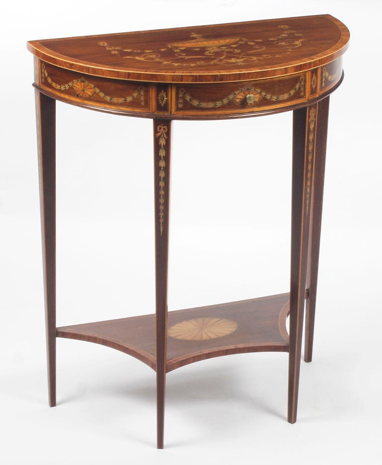 Antique Regency Revival Marquetry Console Table, 19th Century For Sale 5