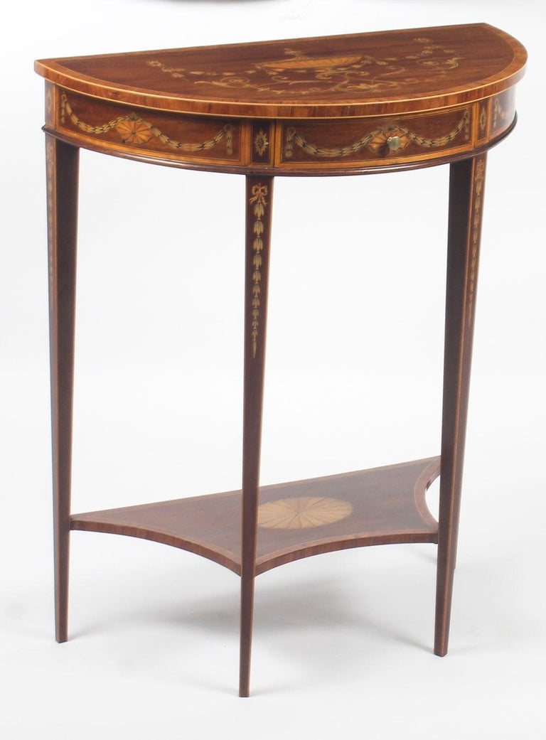 Antique Regency Revival Marquetry Console Table, 19th Century For Sale 6
