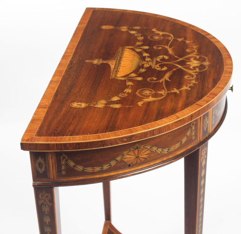 Antique Regency Revival Marquetry Console Table, 19th Century For Sale 8