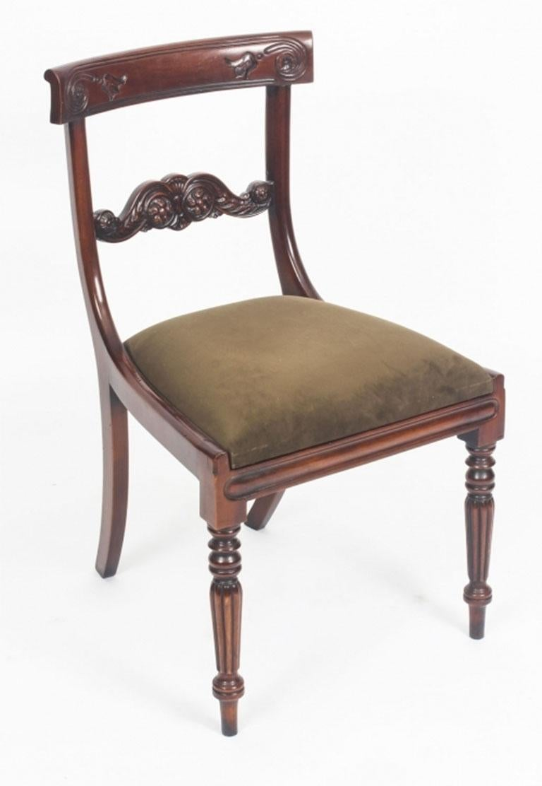 Set Of Eight Regency Style Mahogany Bar Back Dining Chairs For Sale 1 Regency Style Furniture E84