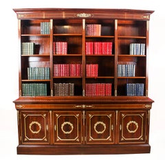 19th Century French Napoleon III Empire Mahogany Bookcase Cabinet