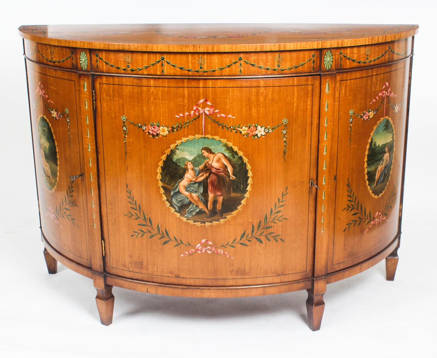 Antique Pair Adam Revival Satinwood Side Cabinets Commodes 19th C For Sale  At 1stdibs