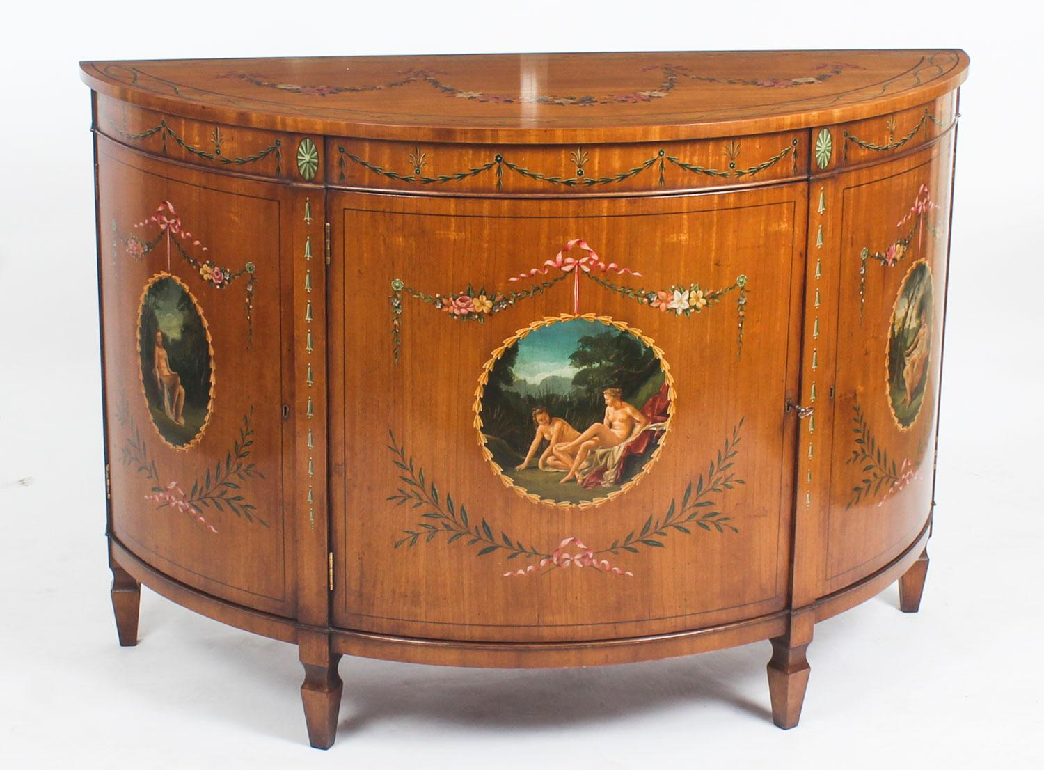 Antique Pair Of Adam Revival Satinwood Side Cabinets Commodes, 19th Century  For Sale At 1stdibs
