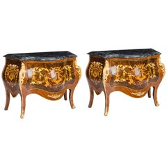 Pair of Louis Revival Marble Topped Marquetry Commodes, Late 20th Century