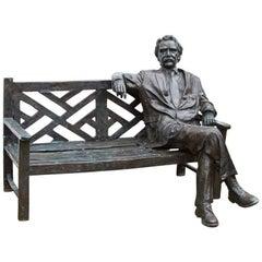Stunning Lifesize Bronze Albert Einstein on a Garden Bench, 20th Century
