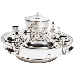 Superb English Silver Plated Lazy Susan Serving Tray