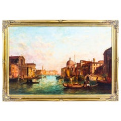 Antique Oil Painting Grand Canal Venice Alfred Pollentine, 1888