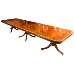 Bespoke Regency Style Inlaid Flame Mahogany Dining Table