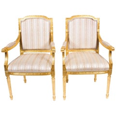 Pair of Bespoke French Louis XVI Carved Giltwood Armchairs