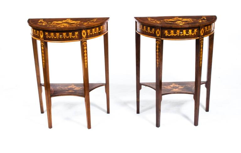 This Is A Stunning Pair Of Vintage Sheraton Style Bur Walnut Half Moon  Console Tables Of
