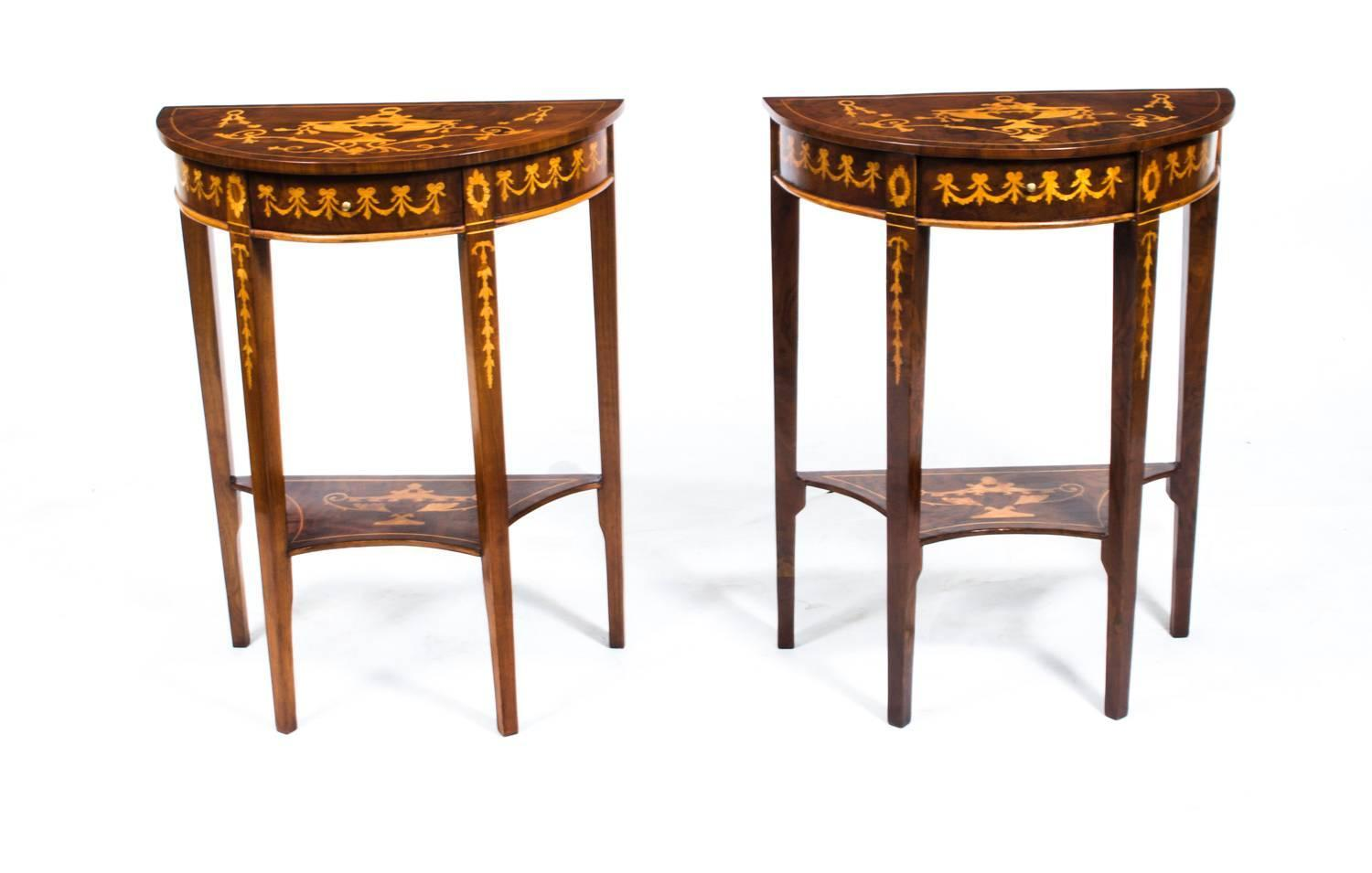 Vintage pair of burr walnut half moon marquetry console for Half moon console table