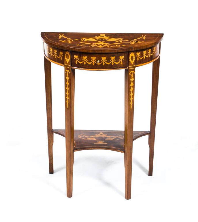 Edwardian Vintage Pair Of Burr Walnut Half Moon Marquetry Console Tables,  20th Century For Sale