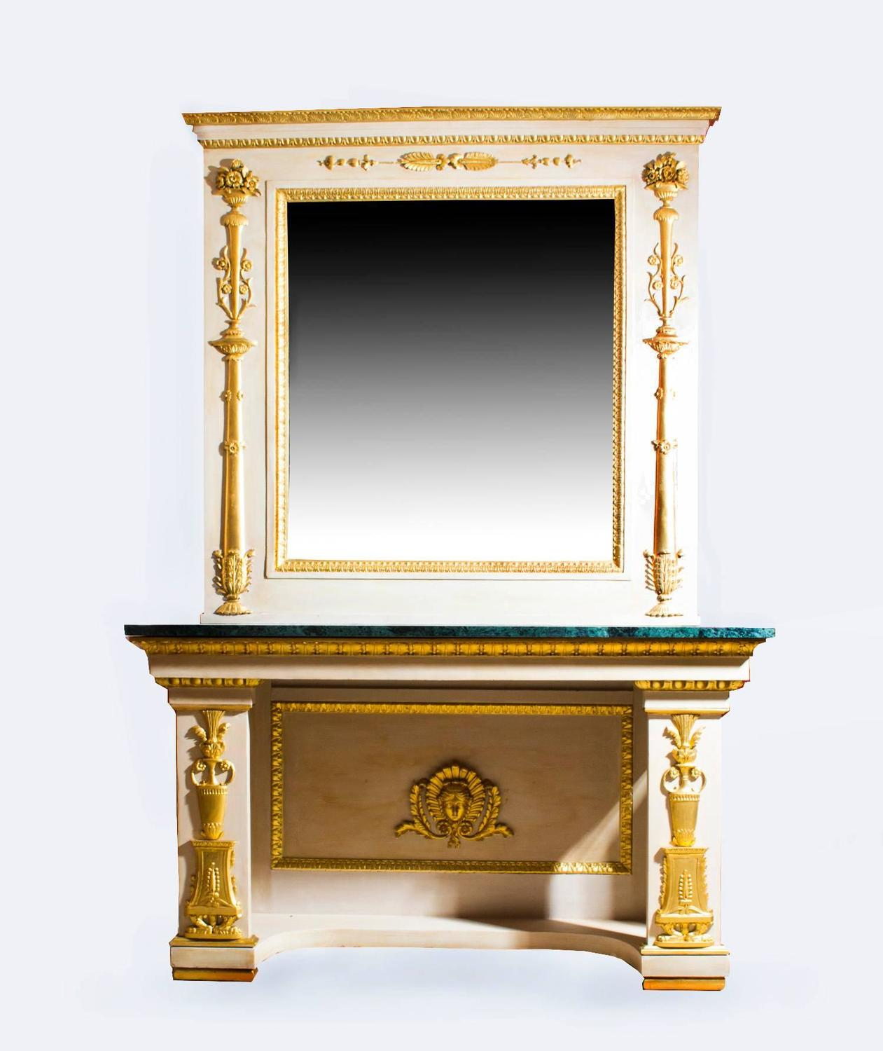 Antique Roman Console Table With Mirror And Marble Top For