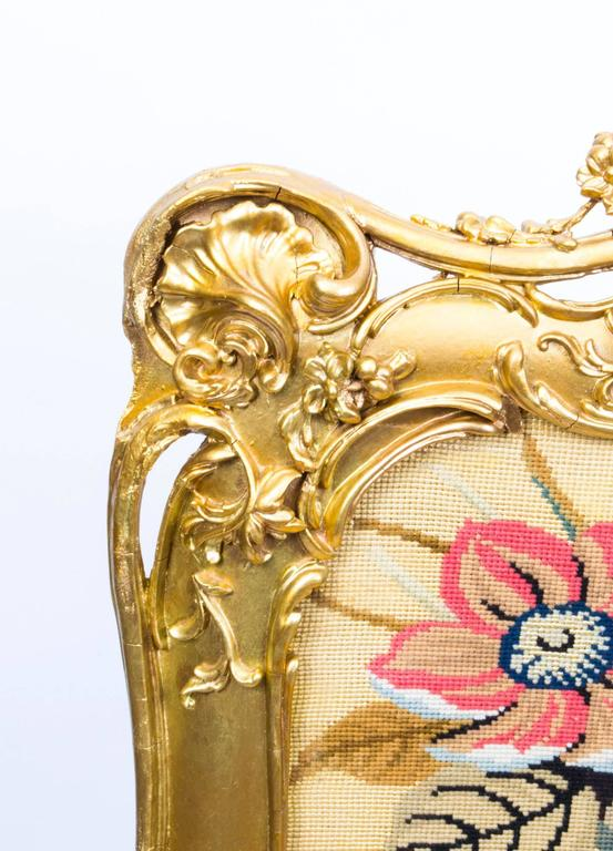 Mid-19th Century 19th Century Victorian Giltwood Fire Screen For Sale
