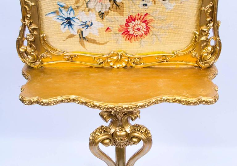 19th Century Victorian Giltwood Fire Screen For Sale 1