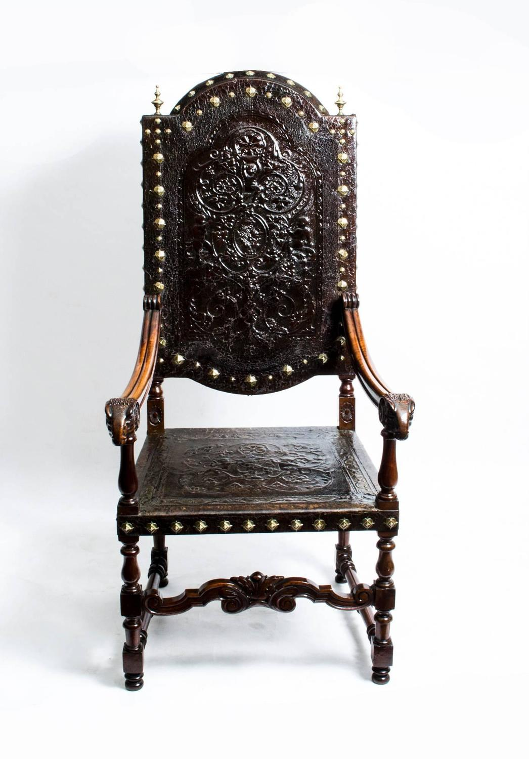 Antique french walnut armchair throne chair circa 1860 at 1stdibs
