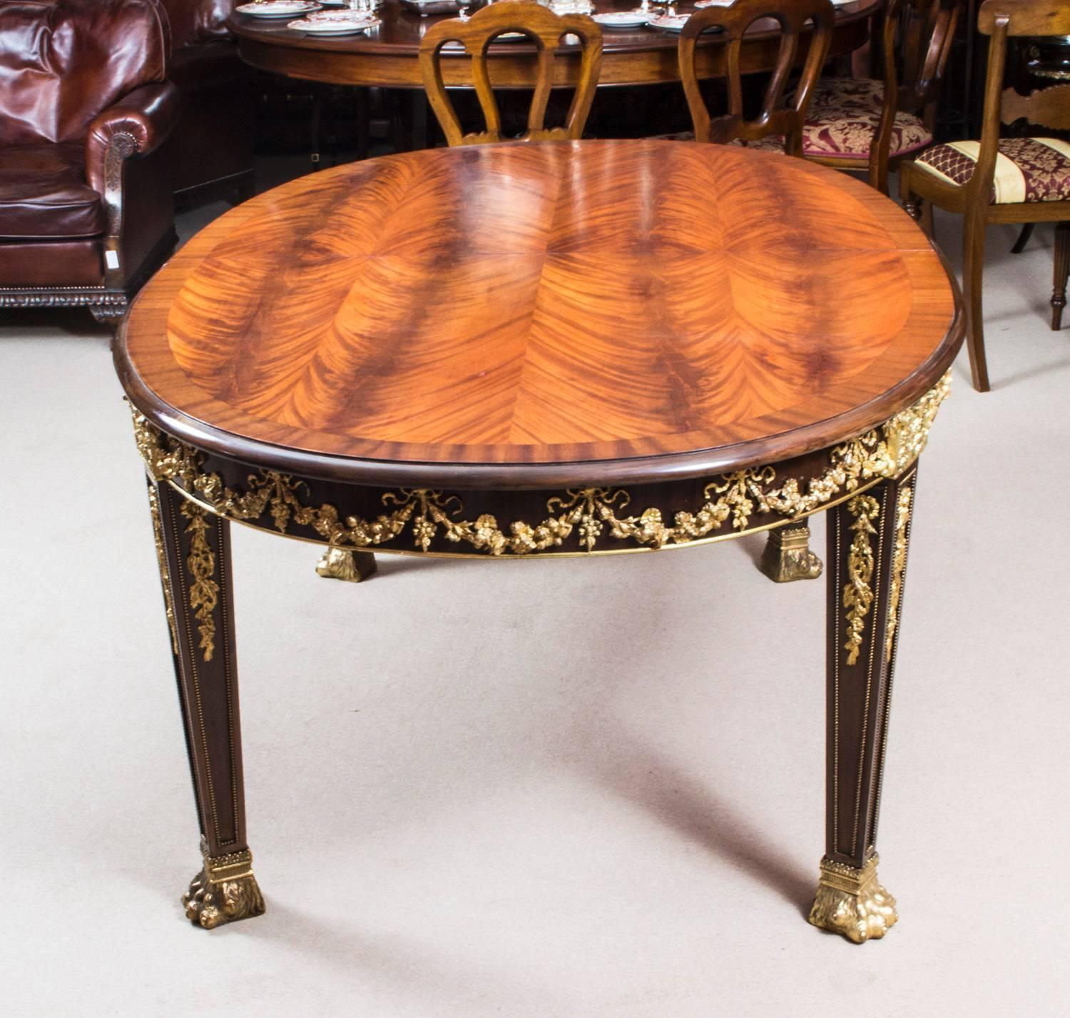 Antique Mahogany Dining Room Furniture: Antique Flame Mahogany Ormolu Dining Table And Ten Chairs