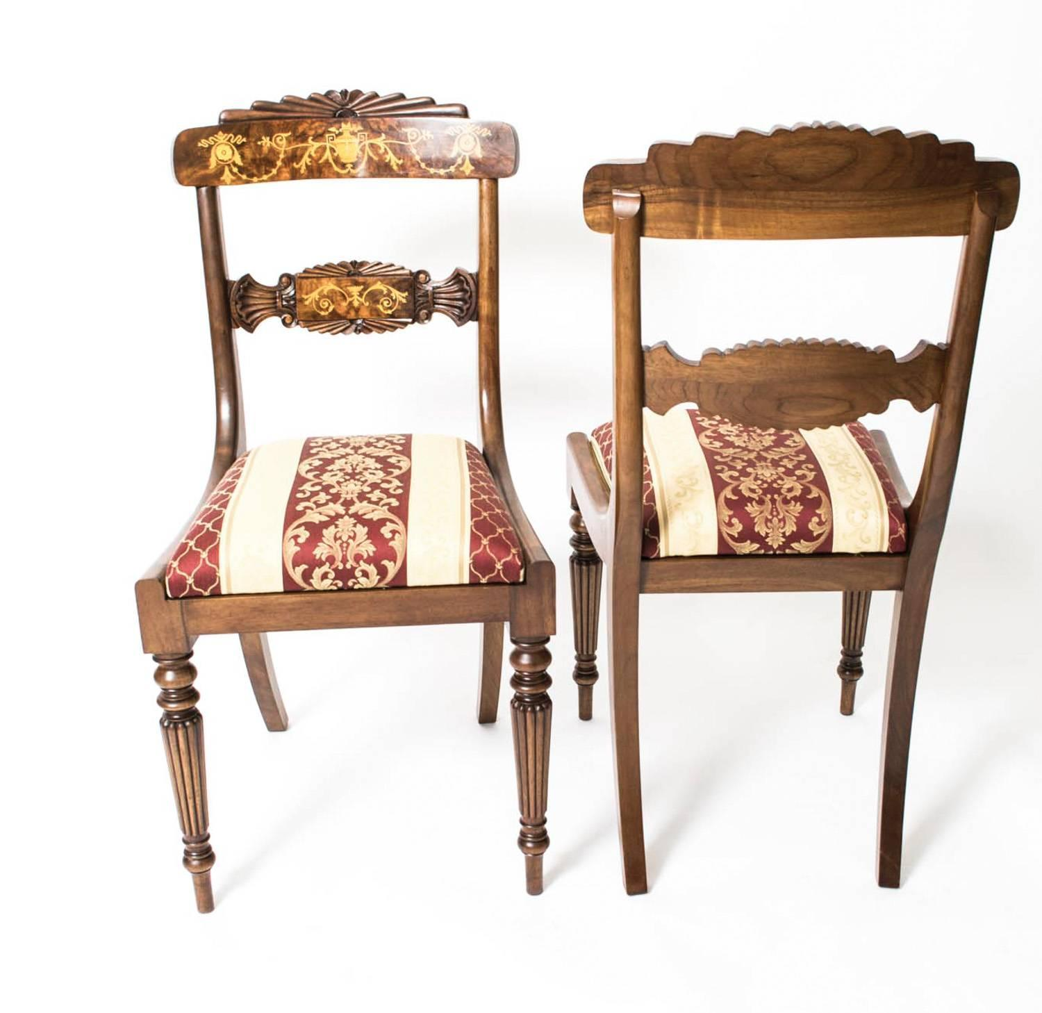 Antique Flame Mahogany Ormolu Dining Table And Ten Chairs For Sale At