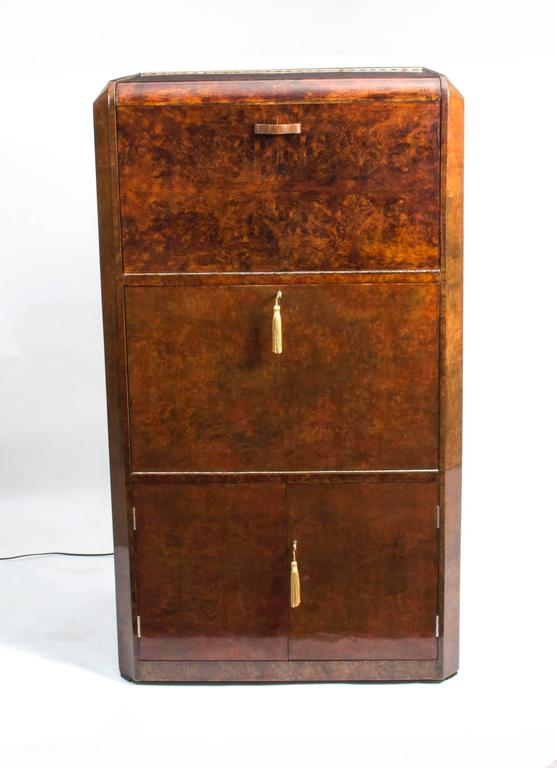 This Is A Fantastic Antique Art Deco Burr Walnut Cocktail Cabinet, Circa  1930 In Date