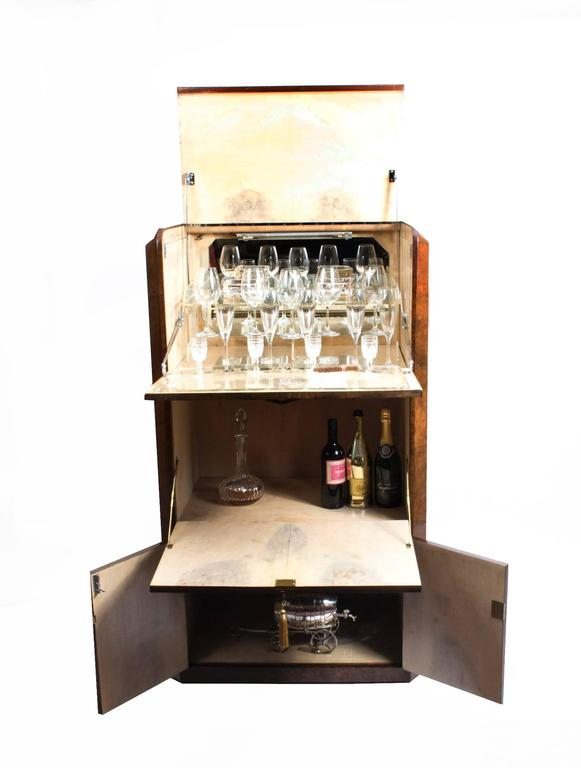 English 1930s Art Deco Burr Walnut Cocktail Cabinet For Sale
