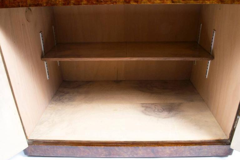 1930s Art Deco Burr Walnut Cocktail Cabinet For Sale 2