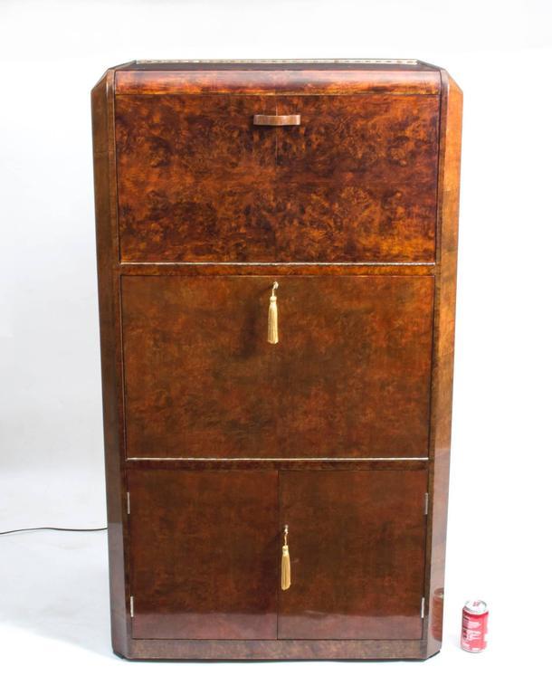 1930s Art Deco Burr Walnut Cocktail Cabinet For Sale 4