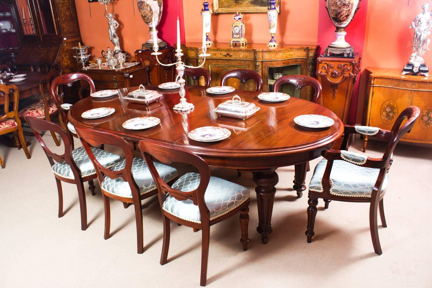 Antique Victorian Oval Dining Table and Eight Chairs ...