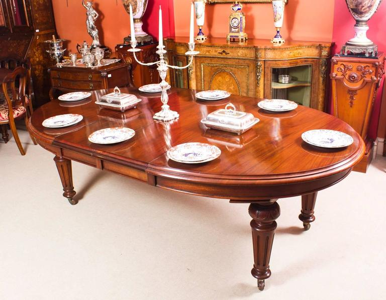 antique victorian oval dining table and eight chairs