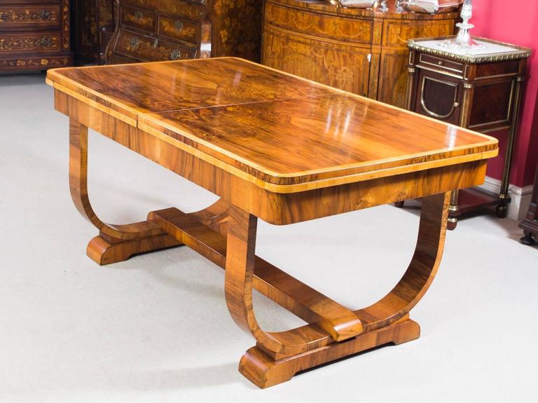 Antique Art Deco Burr Walnut Dining Table circa 1930 at