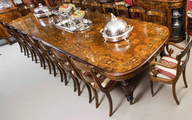 Huge Bespoke Handmade Marquetry Walnut Extending Dining Table 18 ...