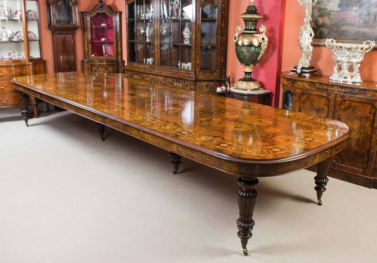 Charming Victorian Huge Bespoke Handmade Marquetry Walnut Extending Dining Table 18  Chairs For Sale